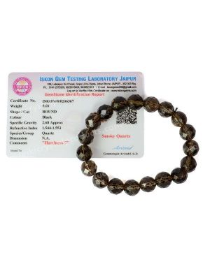 Certified Smoky Quartz 10 mm Faceted Bead Bracelet With Certificate