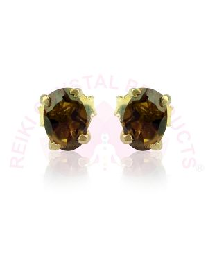 Silver Stud/Earring Smoky Quartz Gemstone Studs for Women Girls