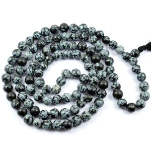 Snowflake Obsedian 8 mm Round Bead Mala & Necklace (108 Beads & 32 Inch Approx)
