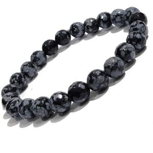 Snowflake Obsidian 8 mm Faceted Bracelet