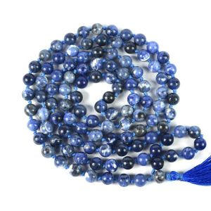 Sodalite  8 mm Round Bead Mala & Necklace (108 Beads & 32 Inch Approx)