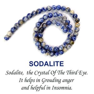 Sodalite 6 mm Round Loose Beads for Jewelery Making Bracelet, Necklace / Mala