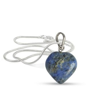 Sodalite Heart Shape Pendant - Size 15-20 mm approx with Silver Polished Metal Chain