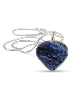 Sodalite Heart Shape Pendant Size 30-35 mm with Metal Silver Polished Chain