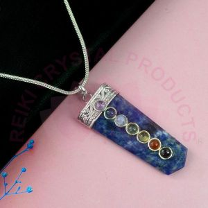Sodalite 7 Chakra Flat Stick Pendant With Silver Polished Metal Chain