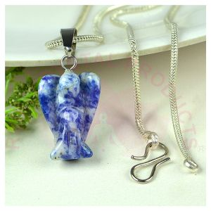 Sodalite Angel Pendant With Silver Poilshed Metal Chain