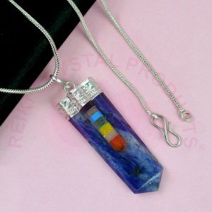 Sodalite Bonded Stick Stone Pendant With Silver Polished Metal Chain