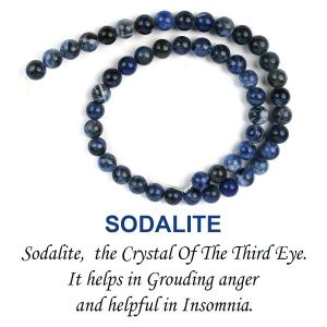 Sodalite 8 mm Round Loose Beads for Jewelery Making Bracelet, Necklace / Mala