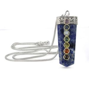 Sodalite Flat Stick 7 Chakra Beads Pendant with Silver Polished Metal Chain