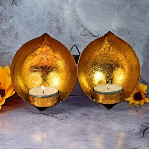 Wall Hanging Tea Light Candle Holder with 2 pc Tea Light Candle for Diwali Decoration & Home