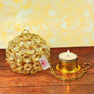 Hanging Tea Light Candle Holder with 2 pc Tea Light Candle for Diwali Decoration & Home Decoration