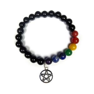 Black Onyx Bracelet with Hanging Star of David Charm 8 mm Round Beads Bracelet