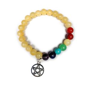 Golden Quartz with 7 Chakra Star of David Charm Hanging Bracelet