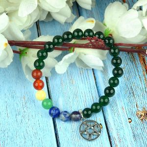 Green Aventurine with 7 Chakra Star-of-David Charm Hanging Bracelet