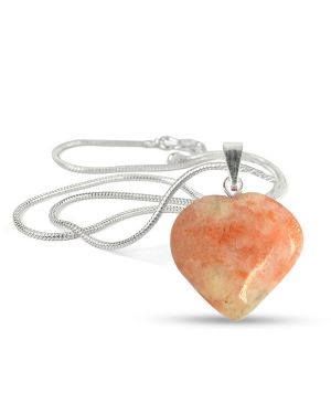 Sunstone Heart Shape Pendant - Size 15-20 mm approx with Silver Polished Metal Chain