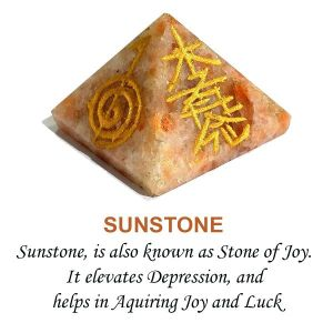 Sunstone Reiki Symbol Engraved Pyramid 30 mm Approx