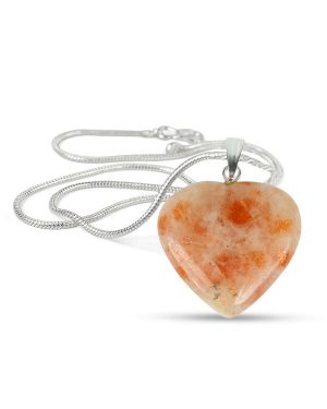 Sunstone Heart Shape Pendant - Size 25-30mm with Metal Silver Polished Chain