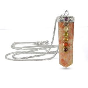 Sunstone Flat Stick 7 Chakra Beads Pendant with Silver Polished Metal Chain