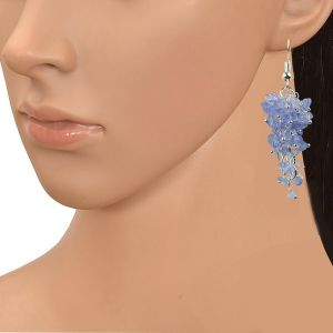 Tanzanite Crystal Earrings Natural Chip Beads Earrings for Women, Girls (Color :Blue)
