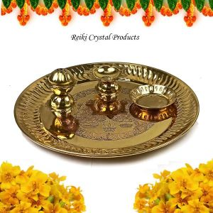 Brass Pooja Aarti Thali Set with Roli Agarbatti for Home Temple Size - 6 Inch (Color : Golden)