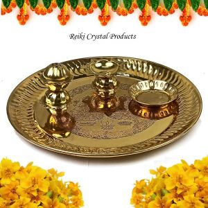Brass Pooja Aarti Thali Set with Roli Agarbatti for Home Temple Size - 8 Inch (Color : Golden)