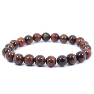 Red Tiger Eye 8 mm Round Bead Bracelet