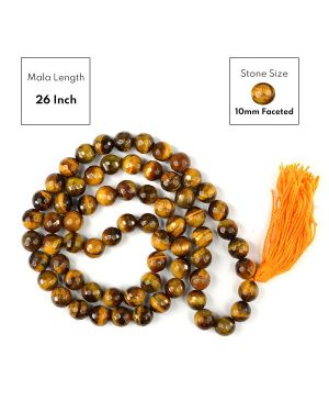 Tiger Eye 10 mm Faceted Bead Mala