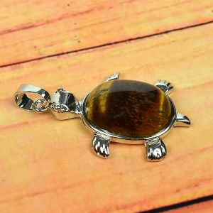 Tiger Eye Pendant Turtle Shape for Reiki Healing and Crystal Healing Stone Pendant (Color : Brown)