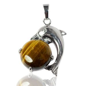 Tiger's Eye Crystal Stone Dolphin Pendant