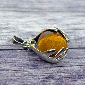Tiger Eye Pendant Hand Ball Shape Pendant for Reiki Healing and Crystal Healing Stone Pendant (Color : Brown)