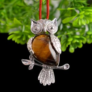 Tiger Eye Owl Shape Pendant