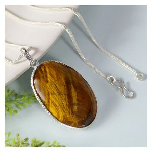 Tiger Oval Shape Pendant With Chain
