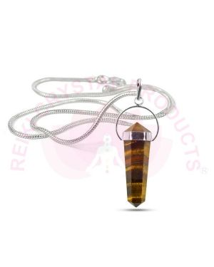 Tiger Eye Double Terminated Pencil Pendant with Silver Polished Metal Chain