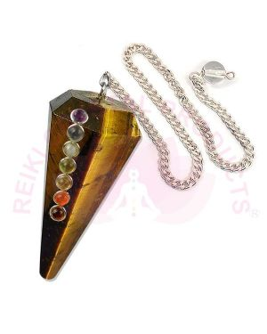 Tiger Eye With 7 Chakra Six Faceted Dowser / Pendulum