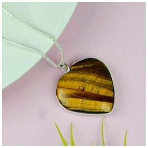 Tiger Eye Heart Shape Pendant Size 30-35 mm with Metal Silver Polished Chain