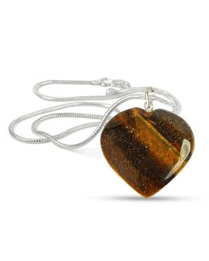 Tiger Eye Heart Shape Pendant - Size 25-30mm with Metal Silver Polished Chain