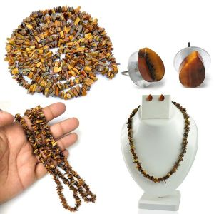 Tiger's Eye  Natural Crystal Stone Chip Mala with Earring Set for Reiki Healing & Crystal Healing