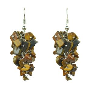 Tiger Eye Crystal Earrings Natural Chip Beads Earrings for Women, Girls (Color :Golden & Brown)