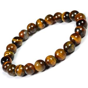 Tiger Eye 8 mm Round Bead Bracelet