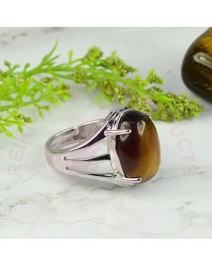Tiger Eye Gemstone German Silver Ring for Unisex (Color : Silver & Brown)