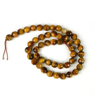 Tiger's Eye Brown Diamond Cut 8 mm Crystal Stone Loose Beads