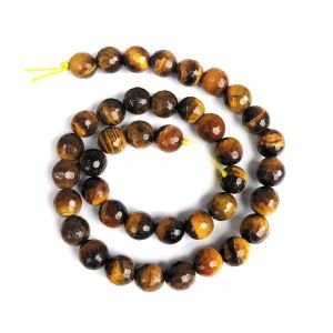 Tiger Eye 10 mm Faceted Beads for Jewelery Making Bracelet, Necklace / Mala