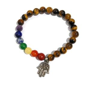 Tiger Eye With 7 Chakra Hanging Charm Bracelet 8 mm