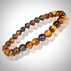 Tiger Eye 6 mm Diamond Cut Bracelet
