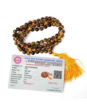 Certified Tiger Eye 6 mm 108 Round Bead Mala with Certificate
