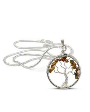 Tiger Eye Tree of Life Pendant with Silver Polished Metal Chain
