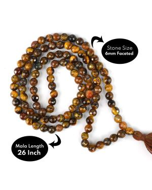 Tiger Eye Faceted 6 mm 108 Bead Mala