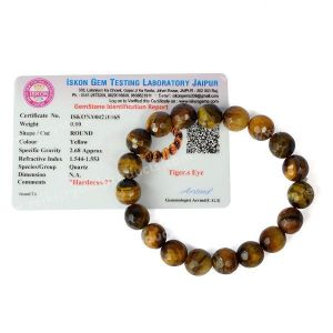 Certified Tiger Eye 10 Mm Faceted Bead Bracelet With Certificate