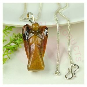 Tiger Eye Angel Pendant With Silver Polished Chain