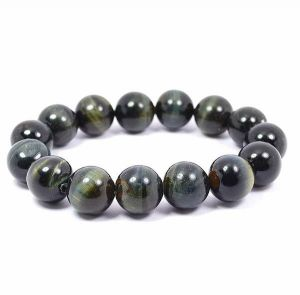 Black Tiger Eye 12 mm Round Bead Bracelet